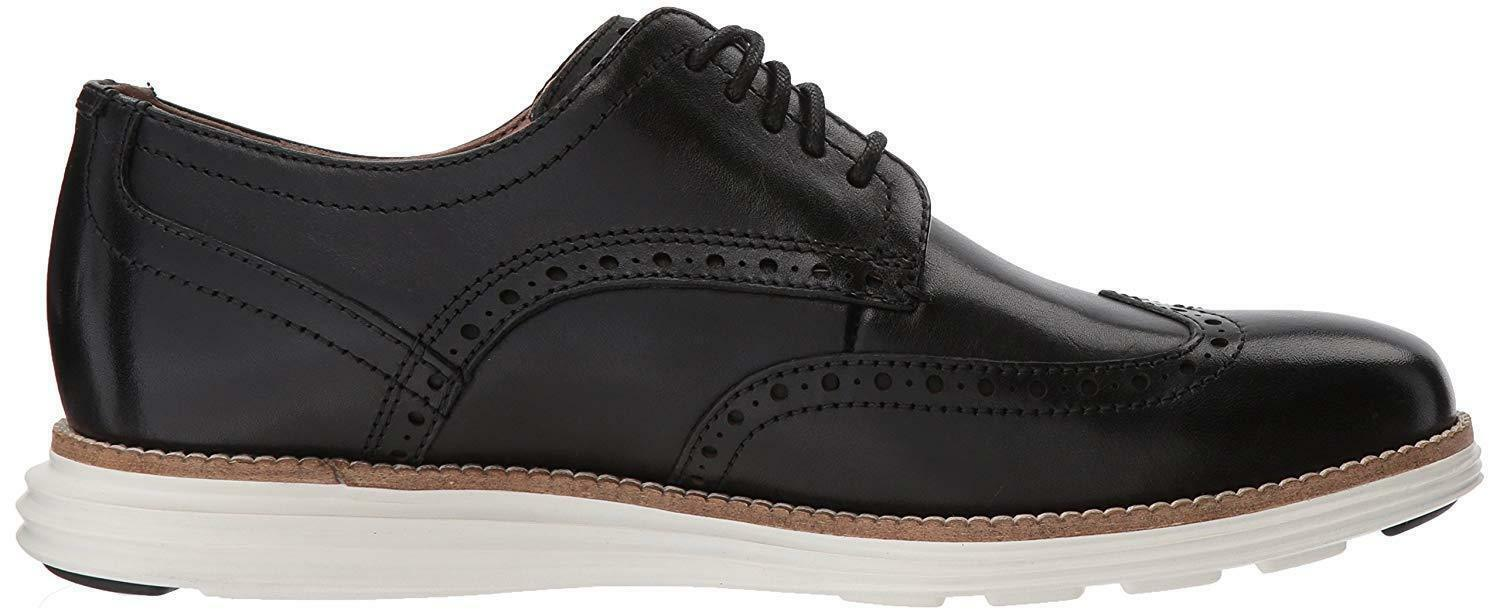 Neuf Homme Cole Haan Original Grand Shortwing Noir Robe Ivoire Chaussures 10