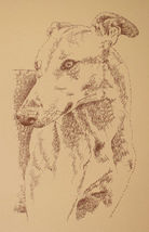 Greyhound dog art portrait drawing two PRINT 39 Kline adds dog's name fr... - $49.95