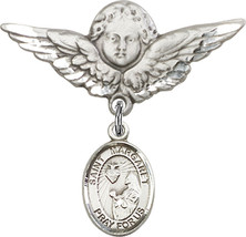 Sterling Silver Baby Badge St Margaret Mary Alacoque Charm Pin 1 1/8 X 1... - $62.84