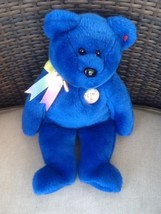 "TY Beanie Buddy Clubby Blue Bear Button 13"" Stuffed PLUSH Great Condition - $13.00"