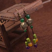 Nipal Handmade Vintage Original Brass Fish Moutain Stone Dangle Earrings... - $10.66