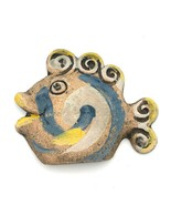 Terracotta Fish Wall Decor Blue White Yellow Swirl Fins Art Smiling Ocea... - $18.69