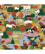 Farm Animals Fabric Check Patches Rooster Chicken Cow Horse Pig Duck She... - $8.09