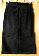 SKOTTS SUEDE Washable Leather Skirt sz 4 Black Midi Straight pencil fit Canadian image 5