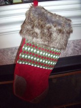 NEW Nordic FAIR ISLE Green & Red KNIT CHRISTMAS STOCKING FAUX FUR Trim H... - $14.41
