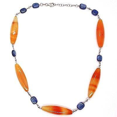 Halskette Silber 925, Achat Orange, Kyanit Blau, Halsnah 44 cm, Kette Rolo