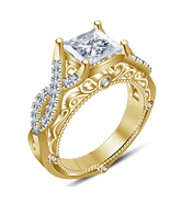14k Yellow Gold Finish 925 Sterling Real Silver Womens Designer Diamond ... - $78.99