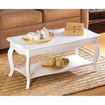 Wood Coffee Table, White Modern Coffee Tables Living Room - Contemporary... - $141.99