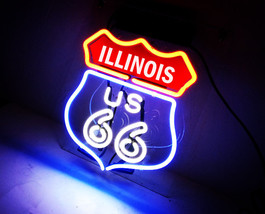 Handmade Route 66 Illinois State IL Beer Bar Pub Neon Light Sign - $59.00