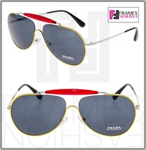 PRADA 56S Linea Rossa Aviator Sunglasses Red Yellow Silver Metal Special PS56SS - $168.30