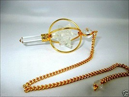 Jet Gold Plated Crystal Quartz Spinning Merkaba Pendulum 2.5 inch Therap... - $18.99