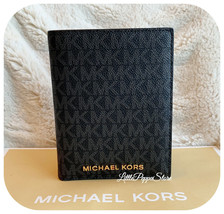 MICHAEL KORS JET SET TRAVEL PASSPORT CASE WALLET MK LOGO BLACK - $49.38