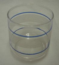 Juice Glass Clear Blue White Striped Orange Fruit Shallow Kitchen Vintage - $19.57