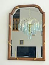 Mid Century Rectangular Beveled Glass Carved Walnut & Gold Wood Mirror 3... - $130.43