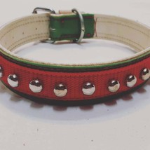 Real Leather Dog Collar with Circle Studs - $64.98+