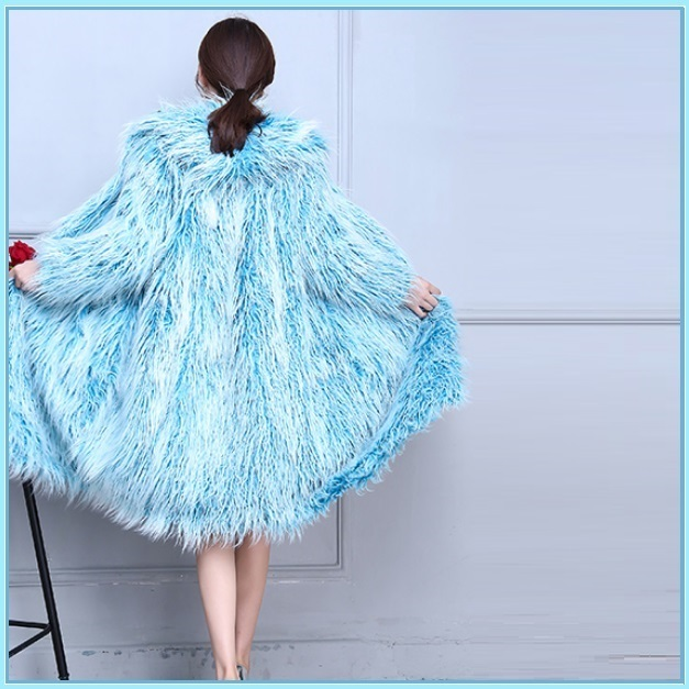 Blue Long Shaggy Hair Mongolian Sheep Faux Fur Long Length Hooded Winter Coat