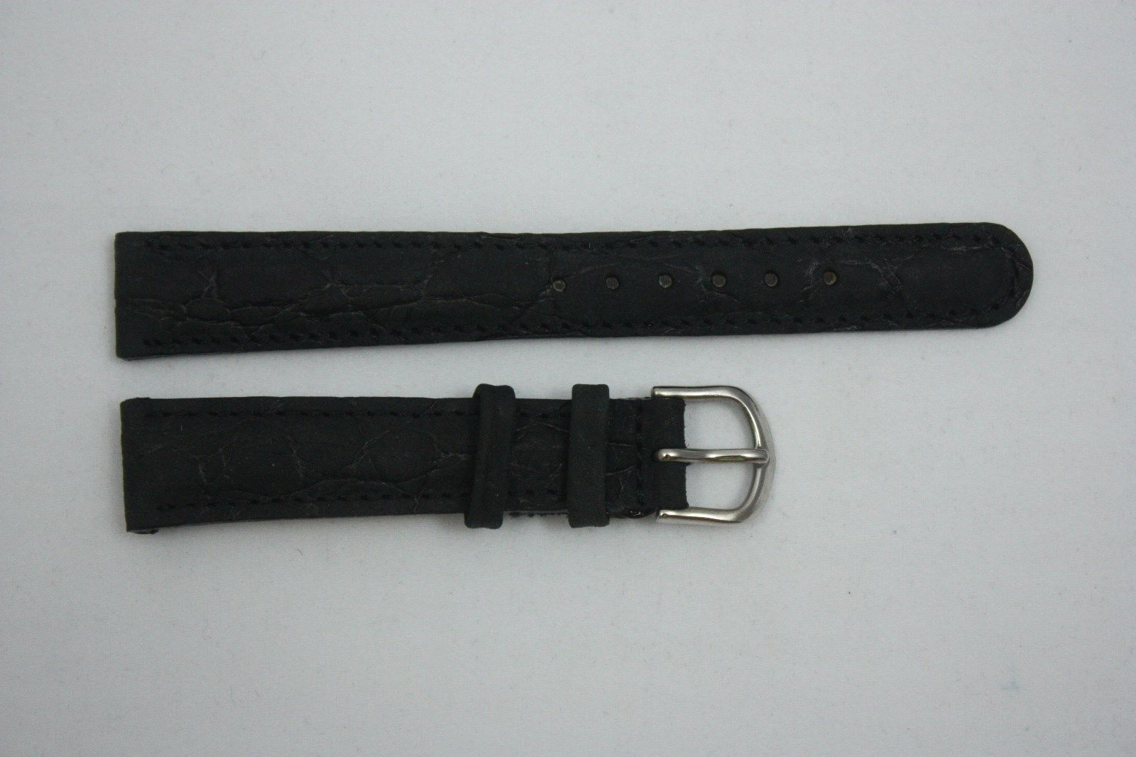 Primary image for Nubuck Croco Grain 20mm Genuine Black Leather Watch BAND Strap
