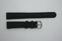 Nubuck Croco Grain 20mm Genuine Black Leather Watch BAND Strap - $10.57