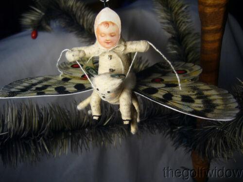 Spun Cotton Christmas Butterfly Ornament no. E27W Vintage by Crystal White