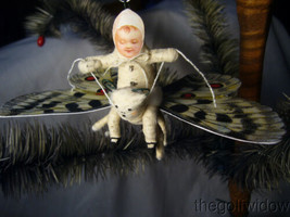 Spun Cotton Christmas Butterfly Ornament no. E27W Vintage by Crystal White image 1