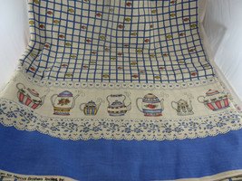 "Dianna Marcum 45"" X 4 5/8 yards Tea Pot Border Print Fabric Blue with fl... - $49.49"