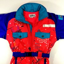 Vintage Obermeyer Sport Junior Ski Suit One Piece Snowsuit Winter Neon 8... - $85.39