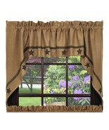 """Country Kitchen Burlap Star Curtains Swag Set 72"""" X 36"""" Window Gifts - $47.51"""