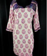 Vintage Tunic Top Pink Purple Paisley India  Cotton 3/4 Sleeves V Neck Med - $44.18