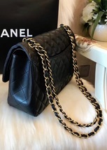 100% Authentic Chanel 2015 Black Quilted Lambskin Jumbo Classic DOUBLE Flap Bag  image 6