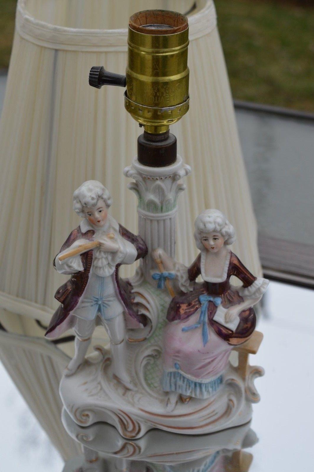 Germany DEP Porcelain Figural Lamp Man Woman Couple Victorian