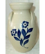 "Williamsburg Salt Glaze Stoneware Pottery Blue & Clay Vase Floral 6"" - $18.86"