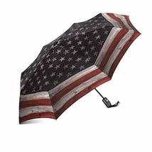 InterestPrint Vintage American USA Flag Wood Background Windproof Automatic Open - $25.73