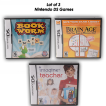 Lot of 3 Nintendo DS Book Worm Brain Age Imagine Teacher Learning Games - $26.72 CAD