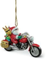 Santa and Rudolph Riding Motorcycle Hog Chopper Christmas Ornament - $33.96