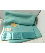 68x90 Blue Aqua Vtg Atkinson Merino Wool Satin Edge LIGHT CLIFFE Blanket... - $146.47