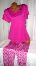 Plus Size Stretch V Neck Pajama Set 1X Magenta Pink Super Soft - $28.99