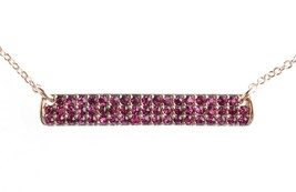 Cohesive Jewels Gold Plated Pink Cubic Zirconia Crystal Pave Bar Necklace NWT image 2