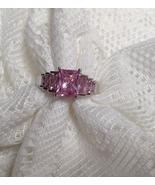 3.4 ctw Princess Step Cut Pink Cocktail, Engagement, Sz 7 OR 8  - $18.00