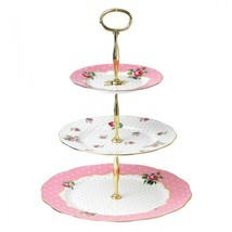 CHEEKY PINK VINTAGE 3-TIER CAKE STAND ROYAL ALBERT NEW IN THE BOX  - $74.24