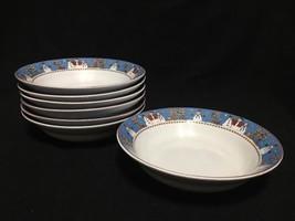 "Sakura Debbie Mumm Snowman Set of 7 Coup Soup Cereal Bowls Stoneware 7-3/4"" - $39.59"