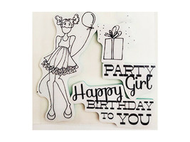Prima Marketing Mixed Media Doll Stamps, Party Girl Rubber Stamp Set