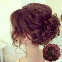 Natural Color Curly Messy Bun Hair Piece Scrunchie Hair Extension image 5