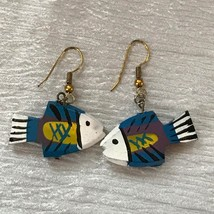 Estate Blue White Yellow & Purple Painted Carved Wood Fish Dangle Earrin... - $10.39