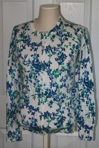 Lands End Women's Supima Print Cardigan Sweater Rich Sapphire Floral New - $29.99