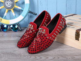Italian Luxury Genuine Leather Men's Studded Red Slip on Loafers ! - $139.00