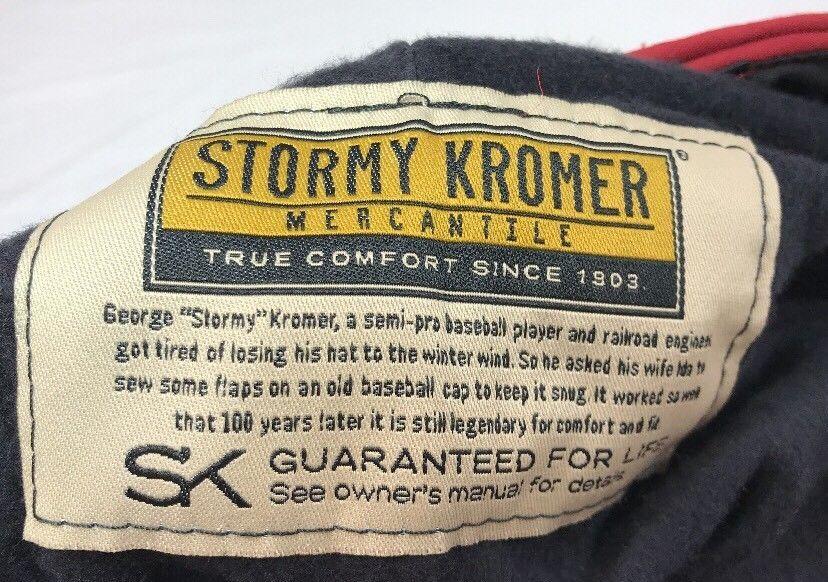 Stormy Kromer Cap Red Black Sz Wool Made in USA Hat Baseball Engineer 6 7/8 image 3