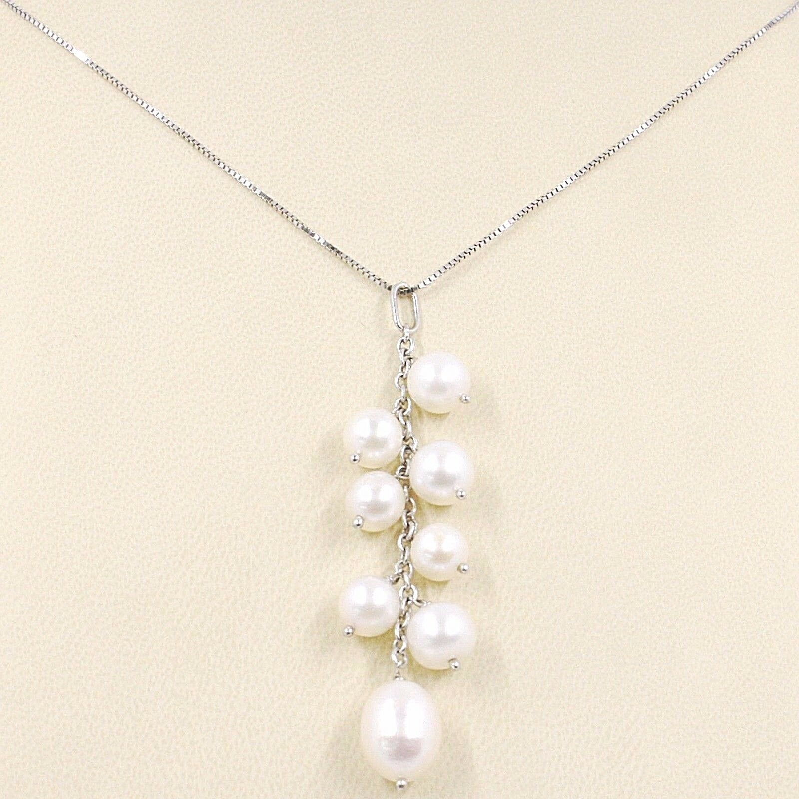 Necklace White Gold 750 18K, Pendant Bunch, White Pearls, Chain Venetian