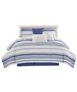 Wonder Home MIKITA 7PC Yarn Dye  Printed Comforter Set, Queen, Blue - £87.74 GBP