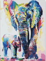 USA - DIY Paint by Number Kit Acrylic Painting Home Decor - Elephant Family - $18.80