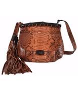 NEW Gucci $2,998 347104 Cognac Python Snakeskin Small Bamboo Crossbody P... - $1,484.01